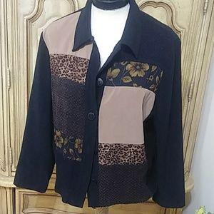 Animal Print Soft jacket button sz Petite M - XL